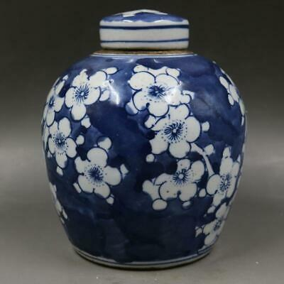 Chinese ancient antique hand make Blue and white Tea Caddy  Porcelain decoration