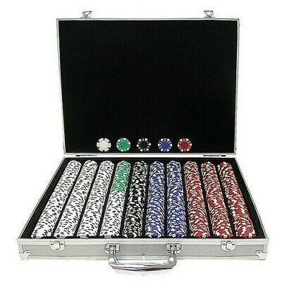 1000 Chips Poker Chip Set 11.5 Gram Holdem Cards Game with Aluminum Case