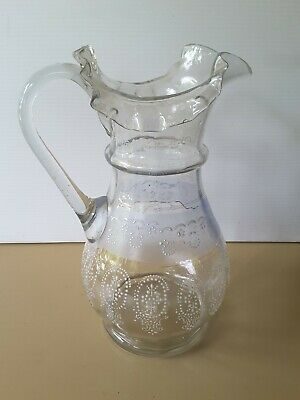 RARE LARGE FRILLY enamelled hand blown 1900's VICTORIAN GLASS JUG VENETIAN LOOK