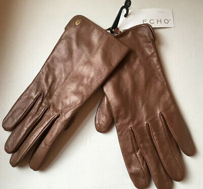Echo Ladies Bronze Brown Genuine Real Leather Gloves Size XL bnwt New womens
