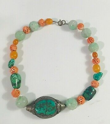 Antique Chinese Natural Green jadeite Necklace Hand carved Beads