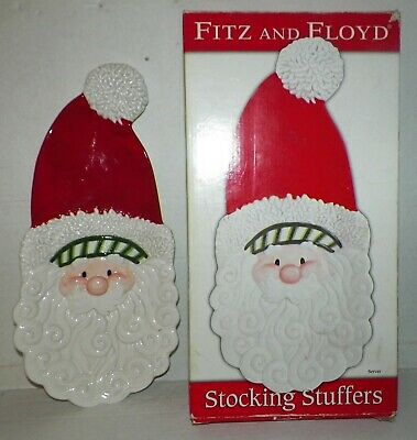 "FITZ and FLOYD 14""x 6½"" SANTA Serving PLATTER Tray  Hand Painted Porcelain"