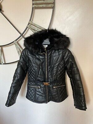 River Island Girls Faux Leather Parka Coat Black 9-10 Years