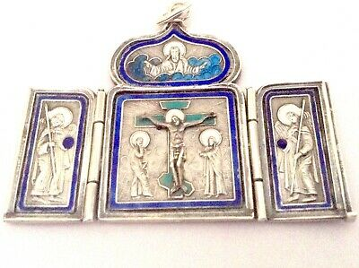 Imperial Russian silver and enamel triptych icon pendant, Khlebnikov