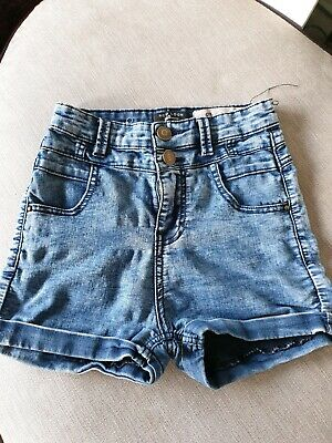 Excellent Condition New Look Girls Denim High-waisted Shorts Age 12 Years