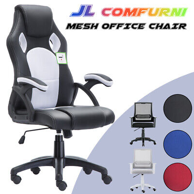 Ergonomic Office Chair Adjustable Swivel Leather Racing Home Computer Desk Chair