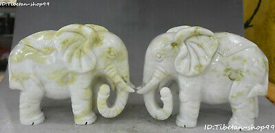 China Natural Lantian Green Jade Fengshui Elephant Auspicious Animal Statue Pair