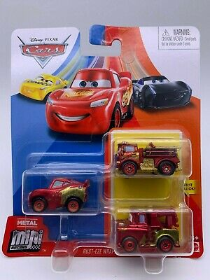 Disney Pixar Cars Metal Mini Racers Rust-Eze Wraps Series McQueen Red Mater