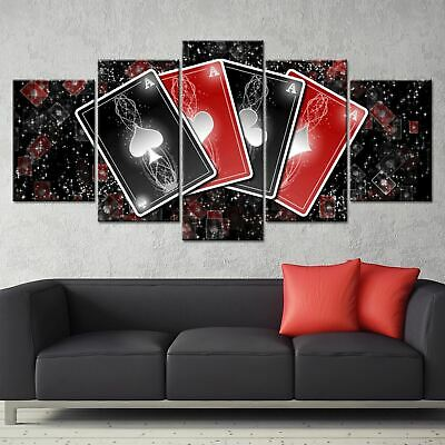 5 Pieces Abstract Playing Cards Canvas Wall Art Home Decor Print Poster Painting