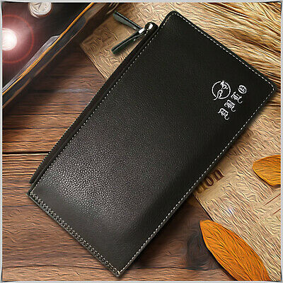 Mens Luxury Soft Genuine Leather Wallet Double Zipper Money Credit Card Holder