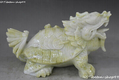 Natural Lantian Green Jade Fengshui Dragon Turtle Coin Wealth Animal Sculpture