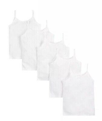 Mothercare Girls White Cami Vests 5 Pack Cheapest Size 6-7 Years