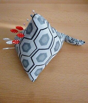 LARGE Pincushion Pin Cushion Pyramid Design Fabric Sewing Aid Pins Grey Black