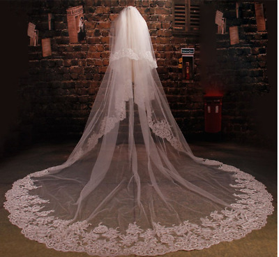 2 Tier White/Ivory Wedding Prom Bridal Veil With Comb Cathedral Length Lace Edge