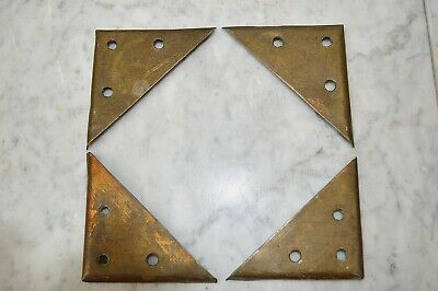 Antique French Set of 4 Large Corners Brass Trim Mounts Trunk Frame Furniture