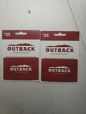 2 $25 Outback Steakhouse Gift Cards (Total Value $50)