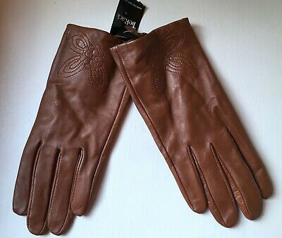 Tie Rack Ladies Brown Genuine Real Leather Gloves Size Large bnwt New womens