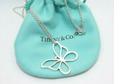 """Tiffany & Co. Sterling Silver Large Butterfly Pendant Necklace 16"""""""