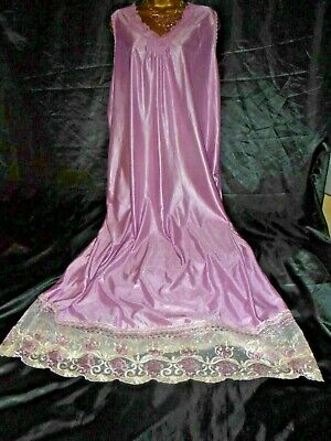 Stunning vtg silky pink   nightie dress slip negligee  60 chest cd/tv  tall girl
