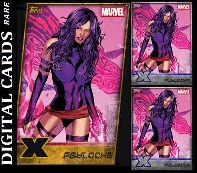 Topps Marvel Collect Card Trader X-Men Weekly Psylocke Gold Die Cut+2 Silver