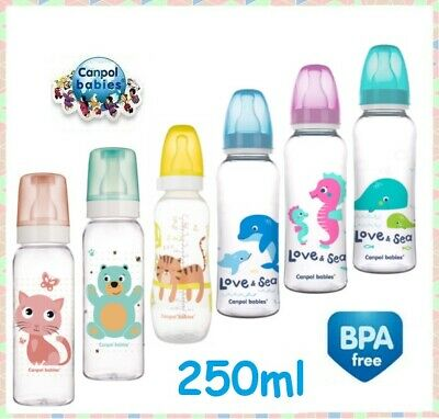 Babies Bottle Narrow Neck 330ml/250ml ml with silicone teat 12m+ Canpol babies