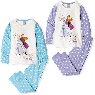 Disney Frozen Girls Elsa Character Pyjamas 100% Cotton Pajamas Sets Pjs 2-8 yrs