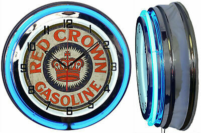 """19"""" Red Crown Gasoline Sign Double Neon Clock Chrome Finish"""