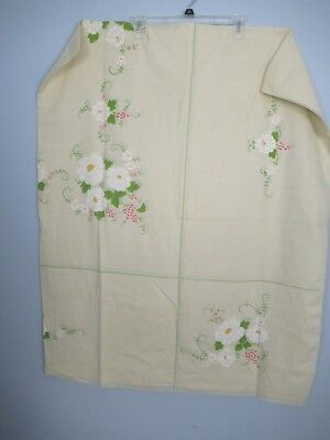 """Vintage Cream Green White Pink Floral Table Cloth 86"""" x 70"""" Tablecloth"""