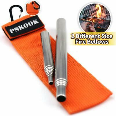 PSKOOK 2 Size Pack Pocket-Size Fire Bellows Collapsible Stainless Steel Fire Blo