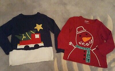 Boys Next Christmas Jumper And Long sleeve T-Shirt 5-6 Years