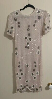 Vintage Cream Pink Beaded Floral Dress (to Fit Sz 8-10)