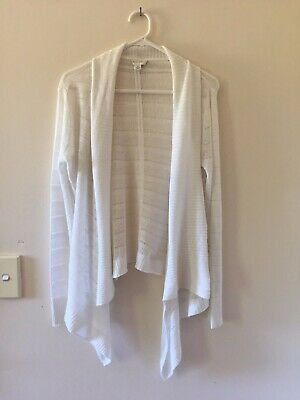 Womens Witchery Linen Blend Long Sleeve Waterfall Cardigan White Size XS