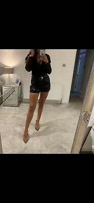 River Island Leather Shorts 10 Worn Once Black
