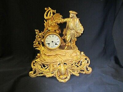 Magnificent Large Antique 1855 Japy Freres Medaille Honn. Figural Mantle Clock