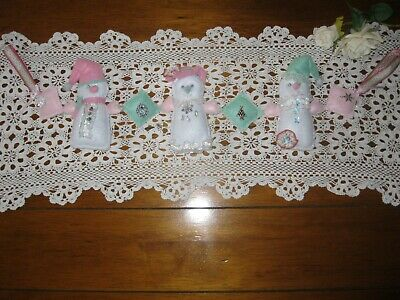 Beautiful Shabby Chic All Hand Stitched,Soft Pastel,Snowman,Glittered Felt Swag!