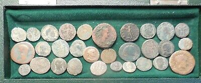 Lot of 30 Detailed Ancient Roman Coins, Largest 28mm, Some Silvered, Potential!