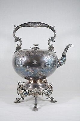Detailed Antique Silver Plate Elkington & Co Spirit Kettle c.1850 Burner Stand