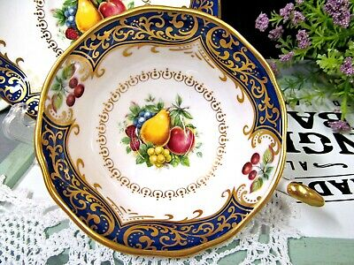 PARAGON tea cup and saucer cobalt blue gold teacup Chatsworth pattern fruits