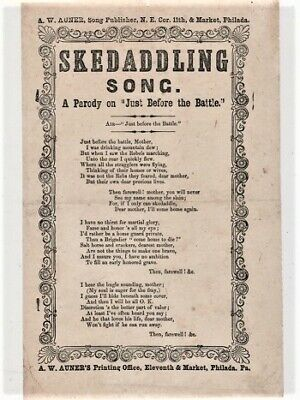 Song sheet SKEDADDLING SONG A Parody on Just Before the Battle