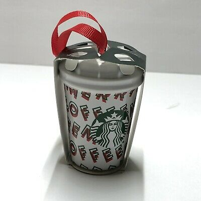 NEW Starbucks 2019 Holiday Merry Coffee Christmas Ornament White/Red Ceramic Cup
