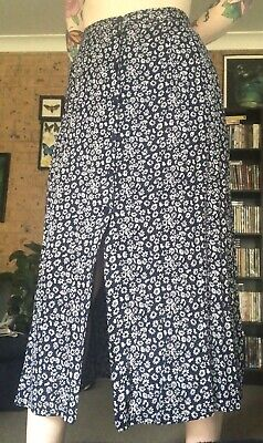 Tree Of Life Navy Midi White Daisy Skirt Button Front Small 8-10