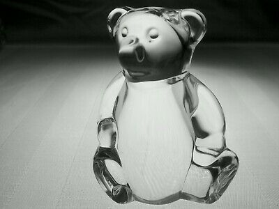 STEUBEN Glass TEDDY BEAR Hand Cooler | Signed Lead Crystal Art with Box