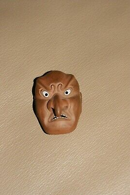 Antique Japanese Clay Netsuke with Shell Inlays, Comic Demon Mask,Signed