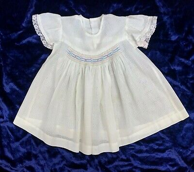 Vintage Baby Girls Smocked Dress Handmade Dolls 1950's original