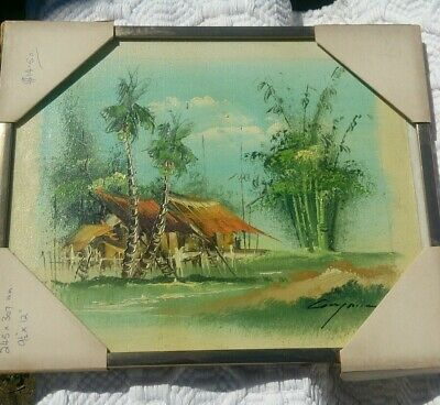 Vintage 1960's Framed Oil on Canvas  Of Thai BEACH Landscape.Signed,never hung