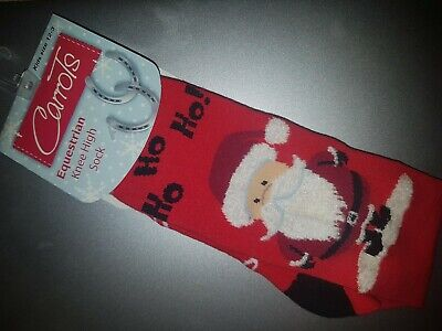 Christmas Horse Riding Socks, Red, Size 12-3 (children's size)