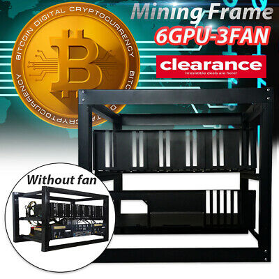 6GPU+3 Fans Bitcoin Mining Rig Aluminum Stackable Case Open Air Frame