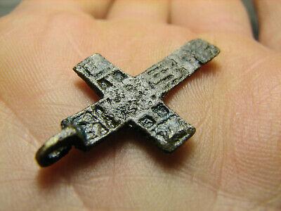 Rare. Authentic ! Relief! Late Medieval Bronze Cross Pendant #1484