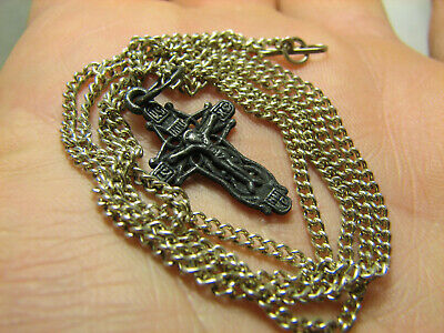 CRUCIFIXION ! STERLING SILVER  VINTAGE CROSS PENDANT with CHAIN #1530
