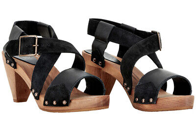 Sanita Heels Clogs - comfortable Danish Wood Sandals - Black